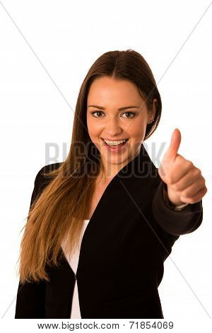 Preety Asian Caucasian Business Woman Gesturing Success Showing Thumb Up
