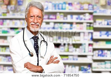 Portrait Of A Male Pharmacist At Pharmacy