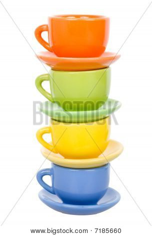 Four Multicolored Cups, Isolated On White