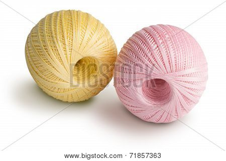 Pink and yellowl cotton yarn