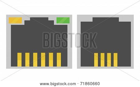 vector illustration of computer internet sockets, ethernet and t