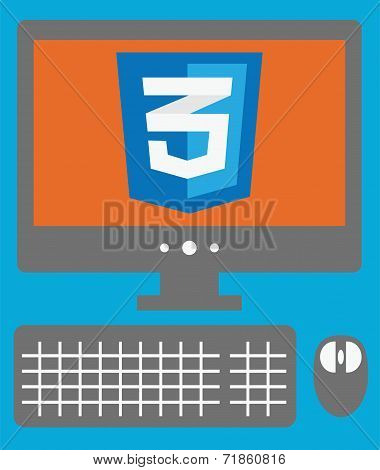 vector icon of personal computer with css3 sign on the screen, i