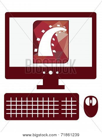 vector icon of personal computer with ruby on rails sign on the