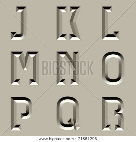 vector stone carved alphabet font - part 2