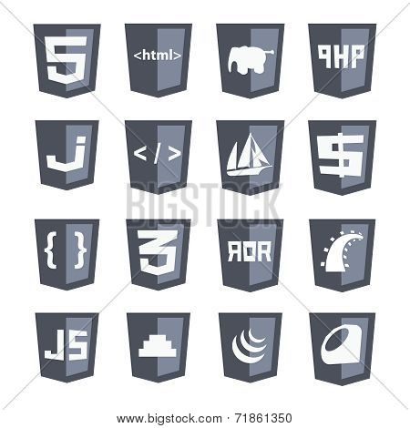 Vector Web Shields Icon Set Grey Variant