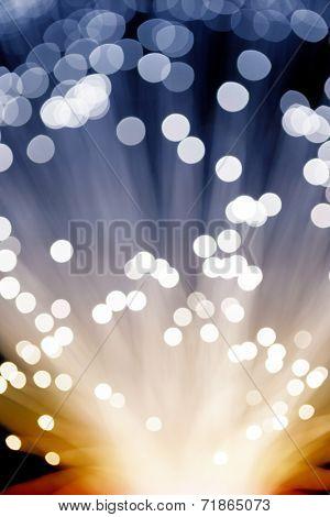 Golden glowing fibre optic light