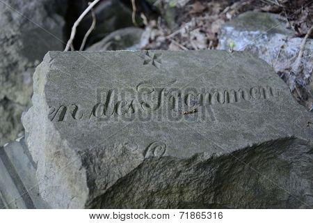 Old abandoned Jewish cemetery in Landsberg, gorzow wielkopolski poster