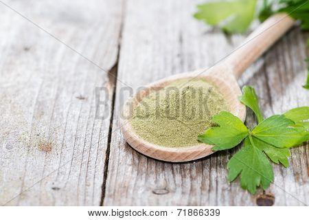 Lovage Powder On Wood