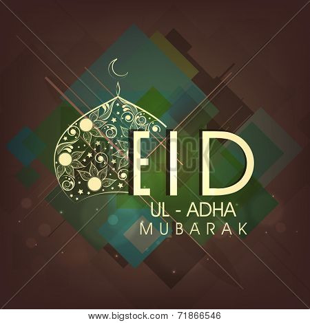 Sylish text Eid-Ul-Adha Mubarak with shiny floral design decorated mosque on abstract brown and green background.