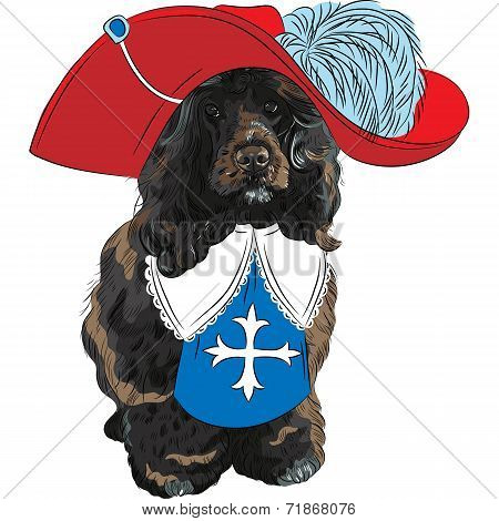 Vector Funny Cartoon Portuguese Water Dog Musketeer