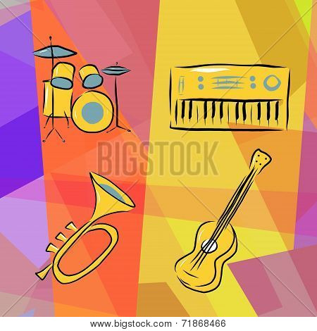 Musical instruments background with drums, trumpet, acoustic guitar and electric piano poster