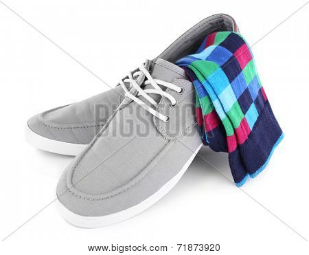Top-siders and socks isolated on white