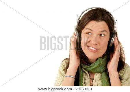 Pretty Woman Wearing Headphones