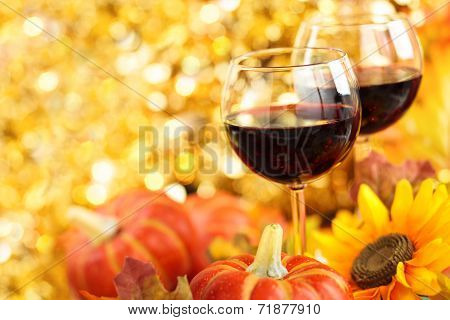 Autumn arrangement with wine sunflowers and pumpkins. poster