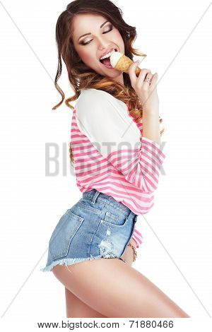Alluring Elated Woman Licking Delicious Ice Cream