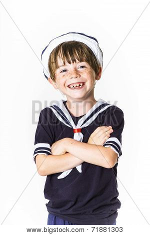 Cute Little Boy Dressed In Sailor Suit