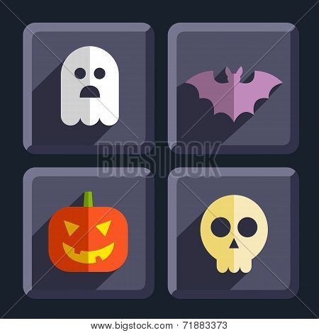 Halloween flat icons badges set