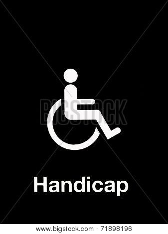 White Handicap Sign Isolated On Red Background