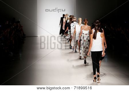 NEW YORK-SEP 8: Models walk the runway at the OUDIFU fashion show during Mercedes-Benz Fashion Week Spring/Summer 2015 at The Salon at Lincoln Center on September 8, 2014 in New York City.