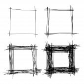 Set of Hand Drawn Scribble Squares, vector design elements poster