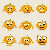 Pumpkin in different moods, healthy food concept with cartoon facial expressions.  poster