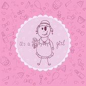 Cute baby girl announcement card. Vector illustration poster