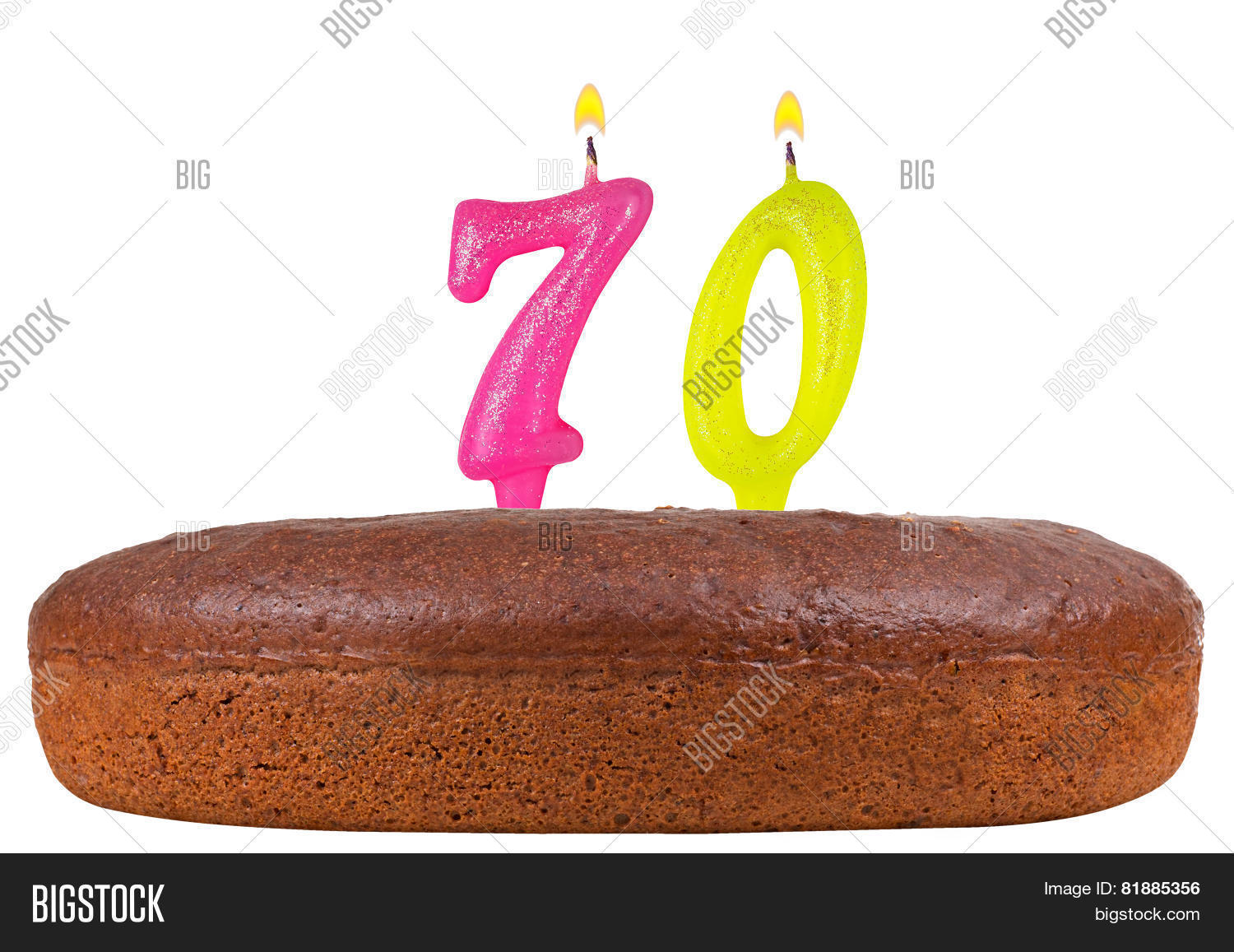 Birthday Cake With Candles Number 70 Isolated
