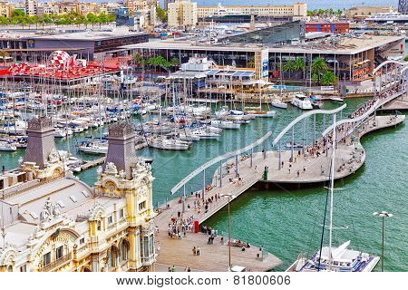 BARCELONA, SPAIN - SEPTEMBER 03: View of the Barcelona panorama Seaport from Montjuic  castle.