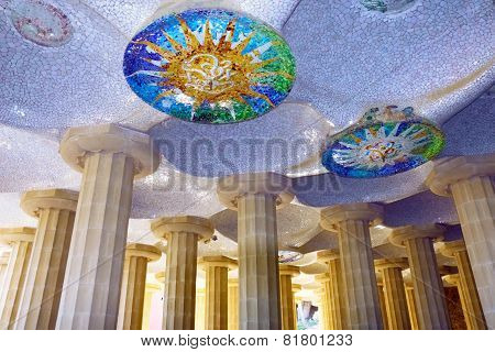 Hall With Mosaic, Guell Park, Barcelona, Spain.