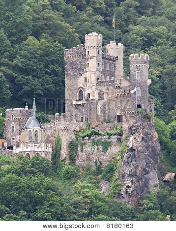 Medieval Castle Rheinstein constructed 1316/1317 Rhine valley Germany poster