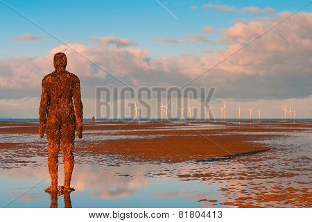 Spectacular Sculptures Are On Crosby Beach.