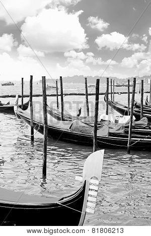 Gondolas Near Doge's Palace, Venice
