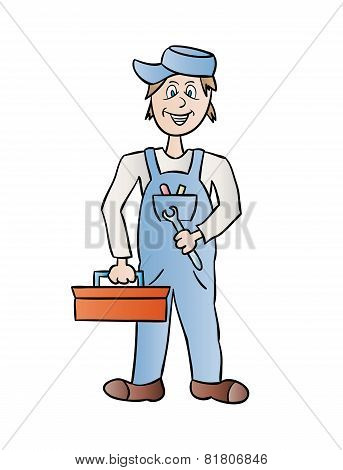 plumber with tools on white background cartoon isolated poster