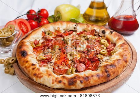 Pizza With Green Olives And Ham