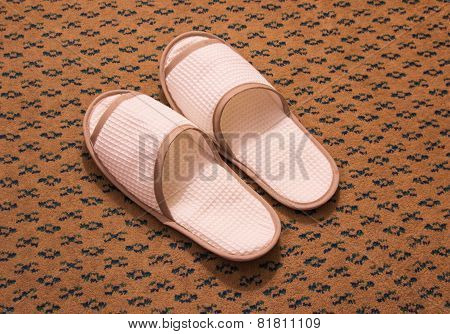 Slippers On The Floor Carpet