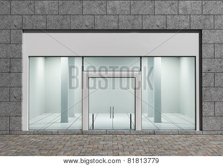 Modern Empty Store Front with Big Windows poster