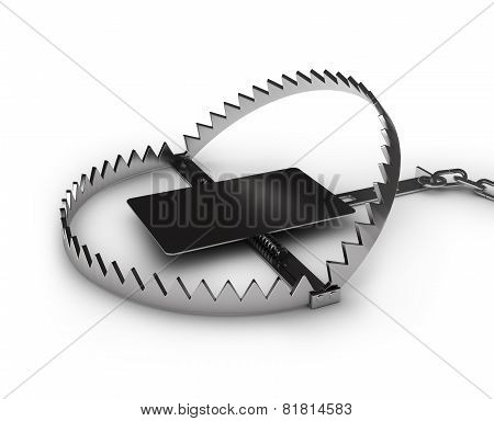 Steel Bear Trap, Isolated On White Background
