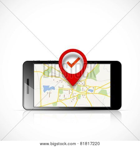 Navigation map in phone and red pin pointer poster