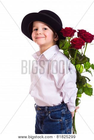 Little Boy With Red Roses