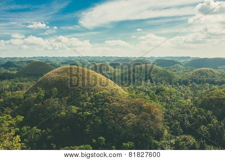 View Of The Chocolate Hills In Bohol, Pilippines