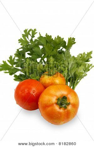 Red tomatoes with parsley leaves