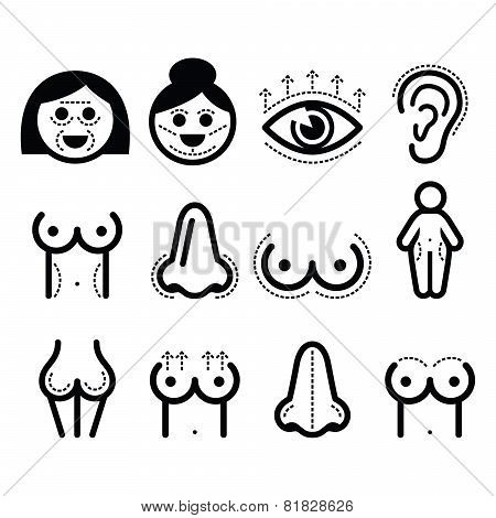 Cosmetic surgery, body imporvement, anti-aging vector icons set isolated on white poster