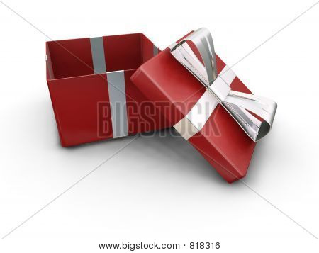 3D render of an open gift box poster