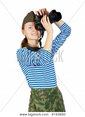 Young Army Girl With Camera