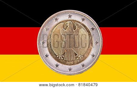German Two Euro Coin With Flag Of Germany