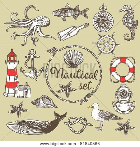 Hand drawn vintage nautical set.