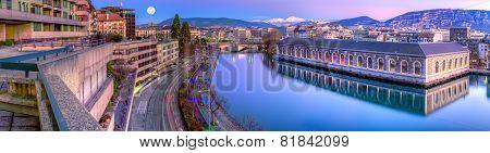 BFM, building and Rhone river, Geneva, Switzerland