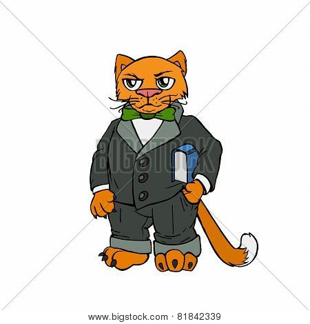 Red cat boss in office. Vector illustration.