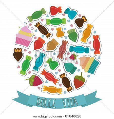 Dolce Vita. Collection Of Cute Colorful Sweet Candies