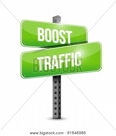 Boost Traffic Road Sign Illustration Design